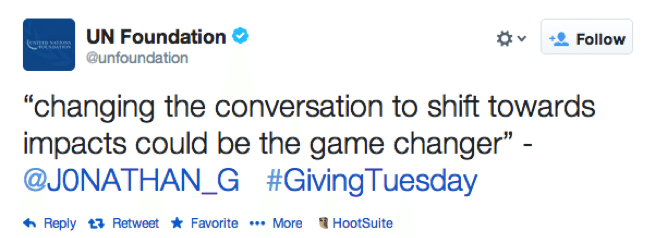 Giving Tuesday Tweet by UN Foundation