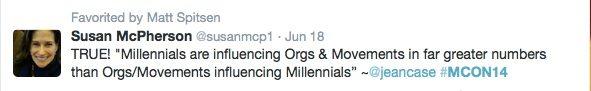 Millennial Engagement Susan McPherson Tweet
